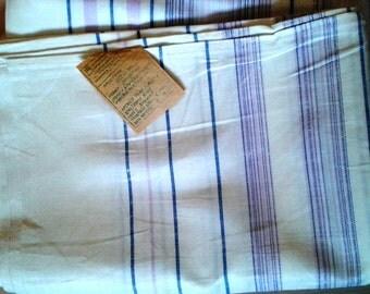 Vintage Bed Sheet, linen, cotton, linen, flax, striped, Soviet Union, USSR, 1980s