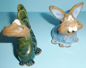 Sculpted Clay Pottery Animals Comical Dragon and Rabbit Vintage Boulder, Colorado Art Mart Stoneware Critters