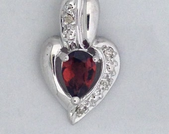 Heart Necklace Natural Garnet with Natural Diamond 925 Sterling Silver