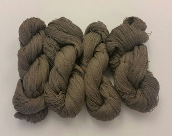 100% Extrafine Wool Merino Yarn. Repurposed. Taupe Recycled Sweater Yarn. 11.3 oz Upcycled Hanks