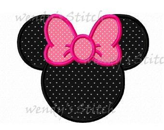 Minnie applique machine embroidery design instant download