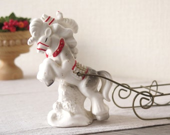 Vintage Christmas Ceramic Figurine Horse Sledge, Vintage Ceramic Christmas Decor @125
