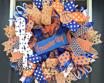 OKC Thunder deco mesh wreath