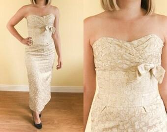 1940s Gold Brocade Dress • Metallic Evening Dress • 40s Starlet Hollywood Glamour • 50s Prom Dress • Empire Waist Strapless Bustier Dress XS