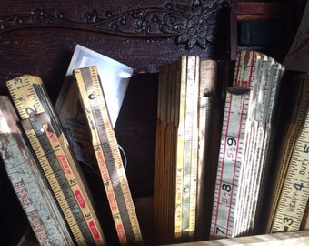 """Carpenters Rulers, Vintage, Folding, Measuring Sticks, Ruler is foldable and extends to 52""""."""