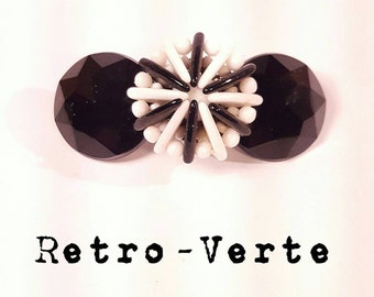 Vintage Upcycled Black Faceted & White Beaded Flower 1950s Glam Hollywood French Clip Barrette Pin-Up