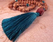 Mala Prayer Beads, Mala Necklace, Bohemian Necklace, Teal Tassel Necklace, Boho, Extra Long Beaded Necklace, Wood Beads, Teal Czech Glass