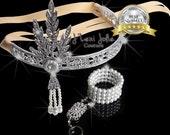 SALE! Great Gatsby headpiece headband, downtown abbey, bridal tiara, roaring 1920's, flapper headband, roaring 20's Gatsby wedding art deco