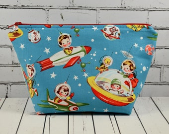 Retro Space Kids Makeup Bag, Vintage Print Fabric, Retro Spaceship Bag, Kitsch Cosmetic Bag.