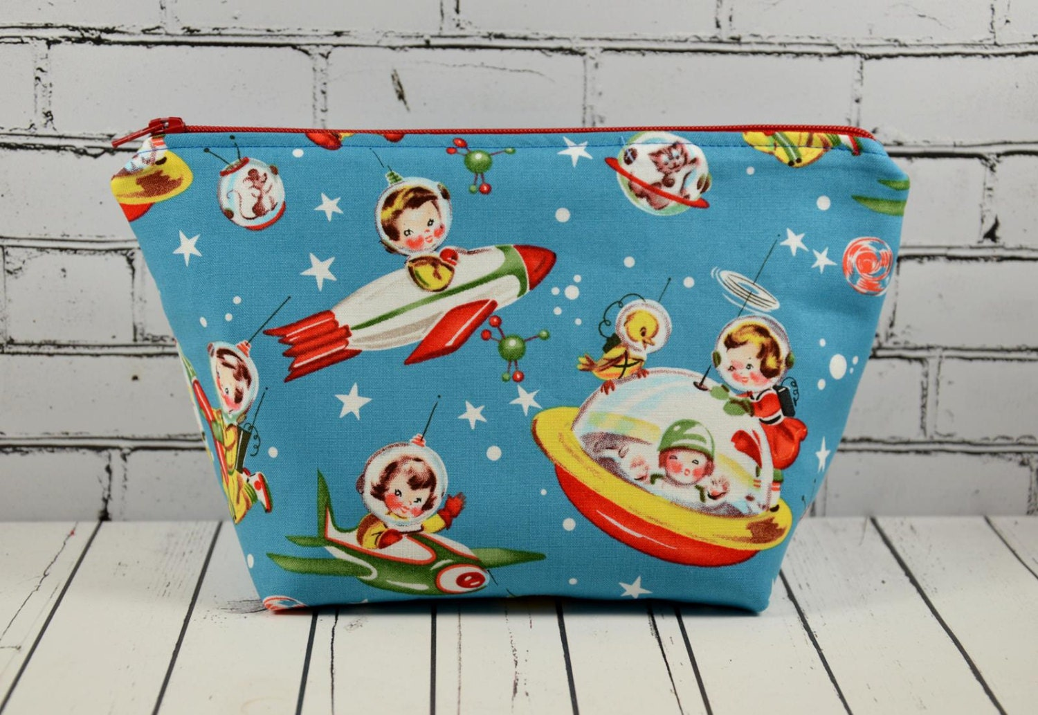 Retro space kids makeup bag vintage theme fabric bag kitsch for Space themed fabric