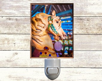 Newborn Night Light - Carousel 10 - New Orleans art -  Handmade - Copper Foiled - Childrens room - Nursery Art - Lighting -