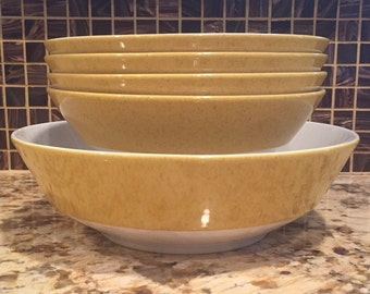Vintage Mikasa Mediterrania Bowl set 4 cereal bowls & 1 serving bowl Caracas Empire Gold 4008 4994 Yellow with Brown Flecks