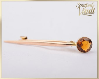 Antique ~ Citrine Brooch / Pin ~ 9k Yellow Gold with C Clasp ~ Milgrain Set Genuine Round Faceted Citrine ~ STR_051 ~ 400.00