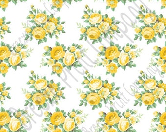Yellow rose floral craft  vinyl sheet - HTV or Adhesive Vinyl -  with white background flower pattern vinyl  HTV2222
