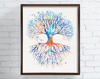 Tree Of Life Watercolor, Tree Of Life Art Print, Tree Of Life Wall Decor, Tree Art, Nature Art, Meditation Art, Housewarming Gift, Whimsical