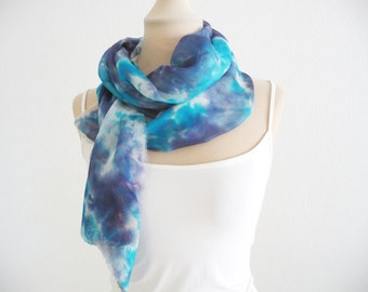 Long silk scarf, Foulard, Grey, Dark blue, Turquoise, Hand painted silk scarf, One of a kind, Abstract silk scarves, Accessories