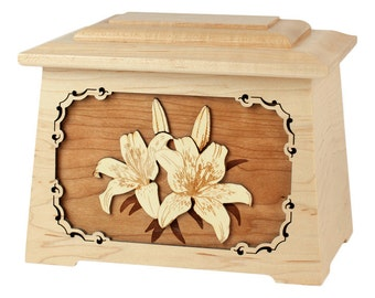 Maple Lilies Astoria Wood Cremation Urn