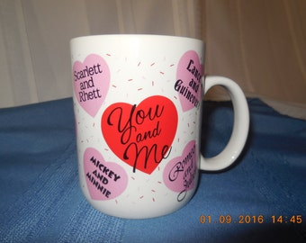 "Valentines coffee mug with ""You and Me"" printed on the front."
