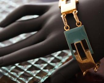 Vintage Italian Goldtone Teal Enamel Bracelet