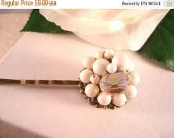 ON SALE Vintage Inspired Hair Pin * Repurposed Vintage Earring * White * Cluster Earring Bobby Pin * Reclaimed Jewelry * Vintage Hair Access