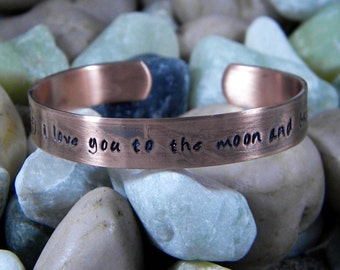 I love you to the moon and back bracelet Antiqued Copper