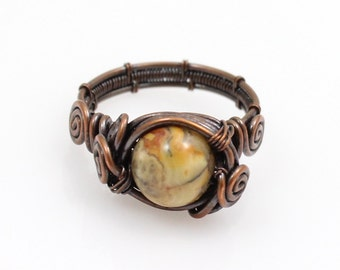 Copper Ring with Crazy Lace Agate, Bohemian Copper Ring with Spirals, Select Size, Custom Ring