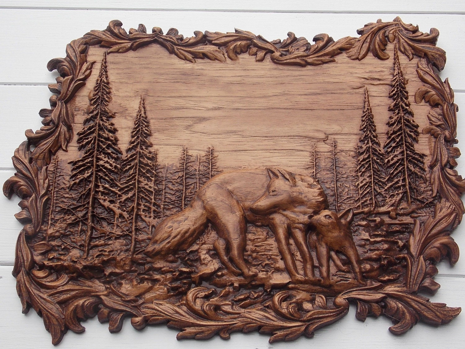 Animal wood carving wolf wall art hanging