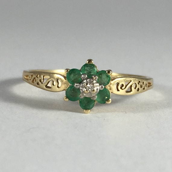 antique emerald and ring 10k yellow gold filigree