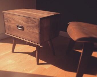 Walnut Nightstand - Bedside Table - danish mid century modern - solid walnut - chest of drawers - scandinavian - dresser - oak