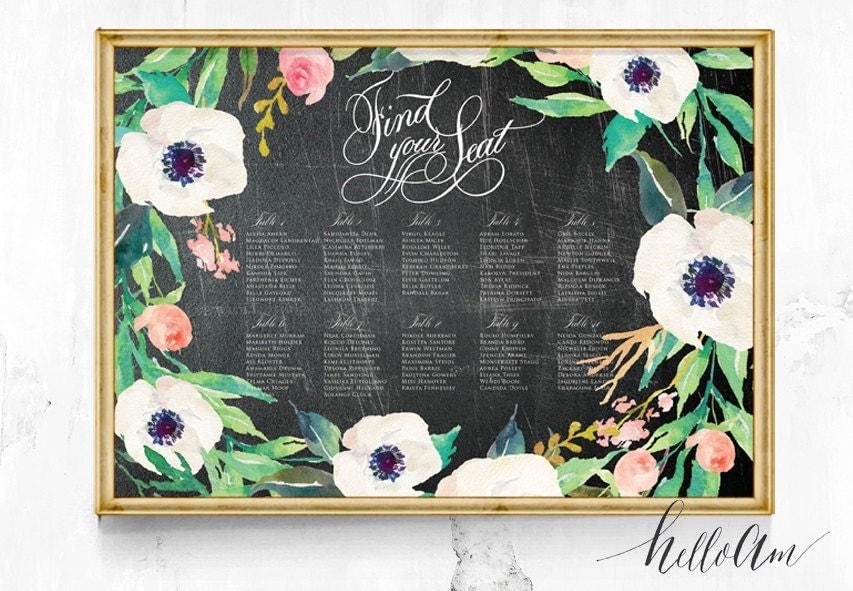 Wedding seating Chart - Wedding seating plan - Seating chart poster - Seating chart wedding - Reception seating -Chalkboard wedding seat