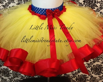 Snow White Ribbon Tutu, Snow White Tutu, Ribbon Trim Tutu, Yellow Red Tutu, Snow White, Disney Inspired Tutu, Snow White Satin Ribbon Tutu