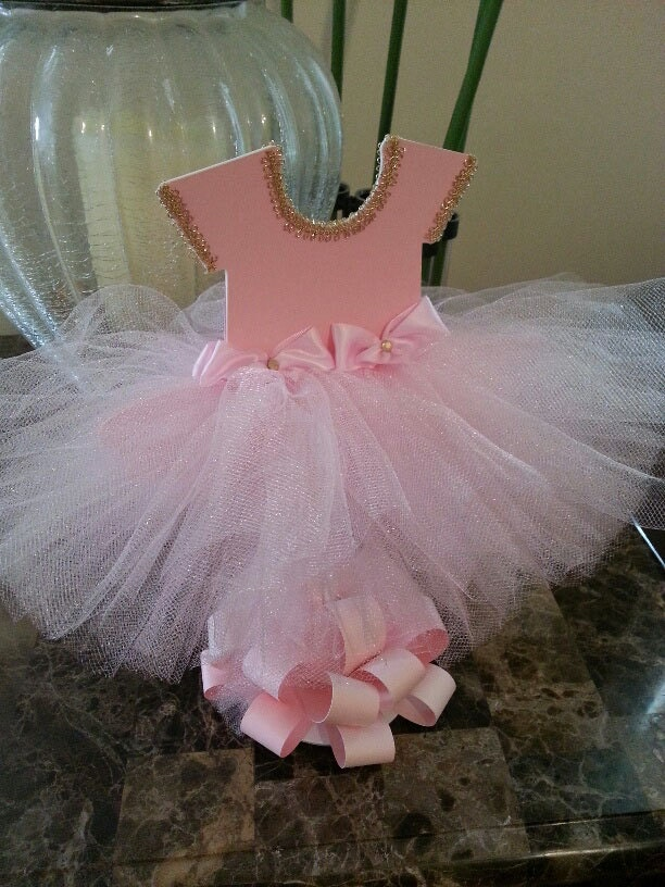 Double sided pink tutu dress centerpiece gold ballerina