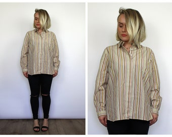 Vintage 1980's Brown Pinstripe Cotton Shirt M L 12 14 16 18 UK Seller