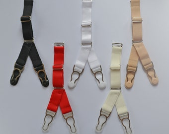 Steel Suspender straps Y-Straps/ Double Clips Premium Quality Set of 4, 6 or 8