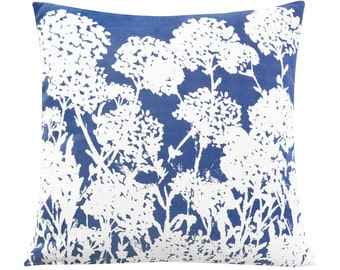 Indigo Meadow Silhouette Pillow Cover, Watercolor Floral Pillow Cover, Designer Pillow Accent, Decorative Cushion, Unique Handmade Quality