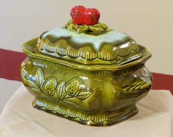 California Pottery Vintage Avocado Green Soup Tureen #745