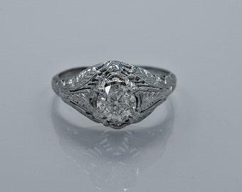 0.68ct. Diamond & Platinum Art Deco Engagement Ring- J34184