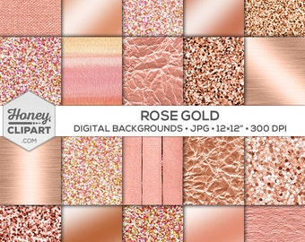 Rose gold digital paper: rose gold glitter, foil background images, printable rose gold download, metallic rose gold wallpaper, pink sparkle