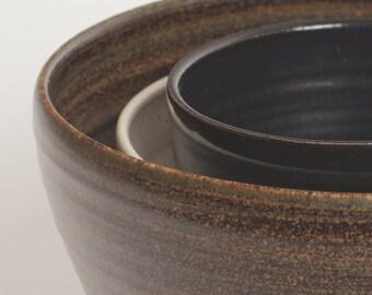 Set of three. Stoneware bowl, pottery bowl, ceramic bowl, nesting bowls, bowl set, ceramics and pottery, serving bowls, bowls, pottery, home