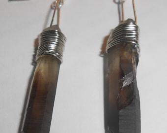 Earrings Smokey Quartz Earrings Crystal Earrings Natural Earrings Healing Earrings Wire Wrapped Earrings Handmade Earrings Dangle Earrings