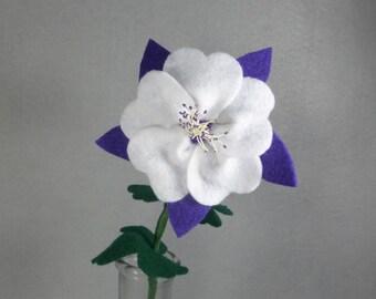 Artificial Flower - Columbine, Fake Flower, Felt Flower, Purple Felt Columbine, Colorado Columbine, Fake Columbine, Purple Flower