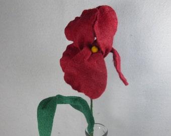 Fake Flower - Iris, Artificial Flower, Felt Flower, Red Iris, Artificial Iris, Fake Iris, Red Flower, Red Iris on a Stem