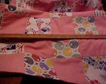 Vintage Quilt Top 1940s Colorful Fabrics  99 X 74 Inches