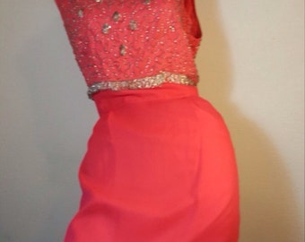 FREE  SHIPPING   Vintage Couture Silk Bead Dress