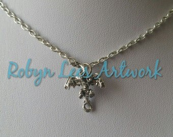 Small 3D Silver Dragon Charm Fantasy Mythical Necklace on Silver Crossed Chain