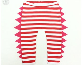 Dinosaur pants Funky Kids leggings- Black Striped Cotton Lycra with felt spikes