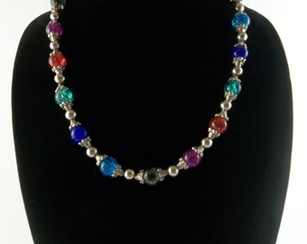 Glass Beaded Necklace Multi Color