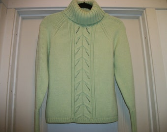 Retro 90s YUMMY Light LIME GREEN Thick Turtleneck Sweater, M