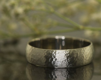 Henry  B- Gentleman's Wedding Band in White Gold, 5.8mm, Hammered Finish adorns of band , Free Shipping