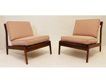 Mid Century Modern Kofod Larsen Style Pair of Lounge Slipper Chairs